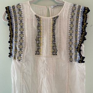 Zara top with croquet and stitching